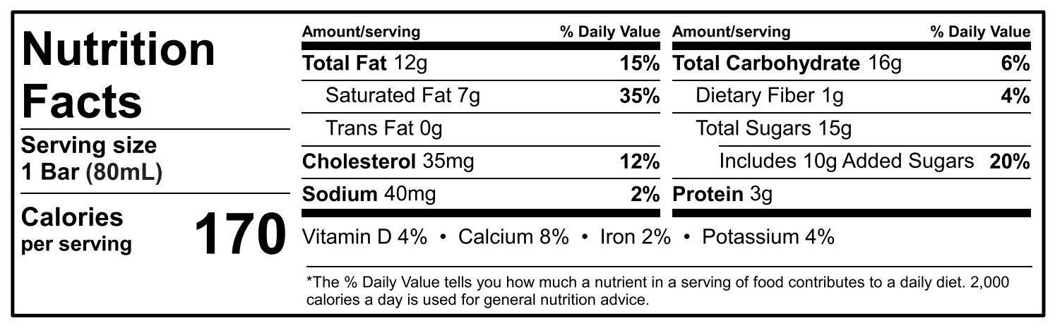 Chocolate Kulfi Nutritional Information